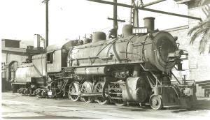 Southern Pacific locomotive #2706 at the roundhouse.