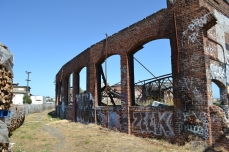 Back wall of the decaying roundhouse, 2013.