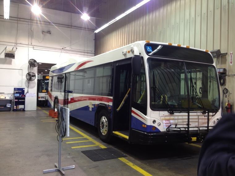 A SamTrans hybrid bus nearing the end of assembly in Gillig's Hayward plant.