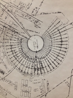 A blueprint of the roundhouse, courtesy Millbrae Historic Association.