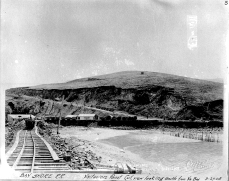 """Bay Shore R. R. Visitacion Point Cut, view looking south from Vis. Bay 3-27-1905"""