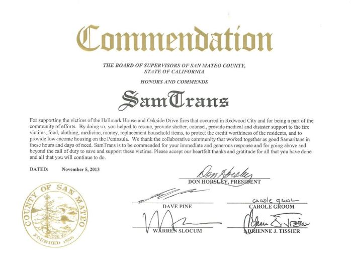 A commendation from the San Mateo County Board of Supervisors for SamTrans' mutual aid response during two fires in the county.