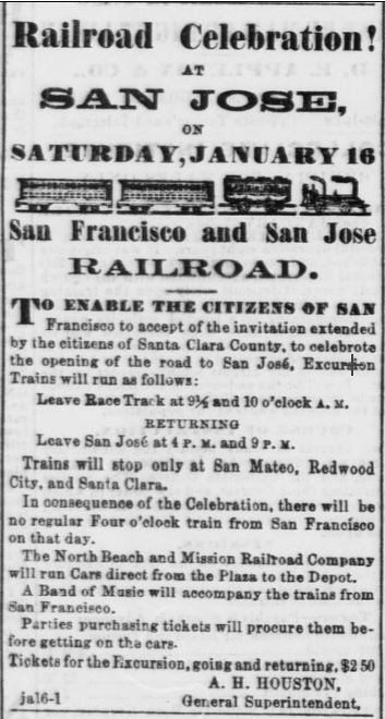 """An ad in the Jan. 16, 1864 Daily Alta California promotes the """"Railroad Celebration"""" and special trains."""