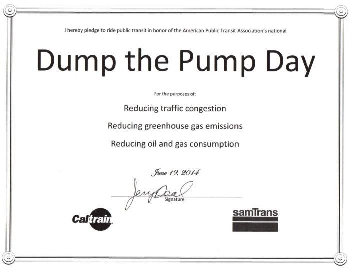 Burlingame City Council Member Jerry Deal signed his Dump the Pump pledge.