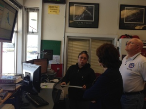 Director Rose Guilbault gets a tour of North Base dispatch center from Deputy CEO Operations Chuck Harvey.