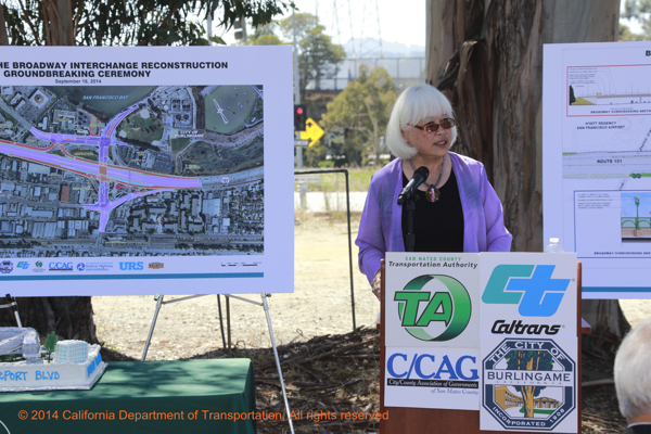 TA board member Karyl Matsumoto speaks at the 101/Broadway Interchange ground breaking ceremony.