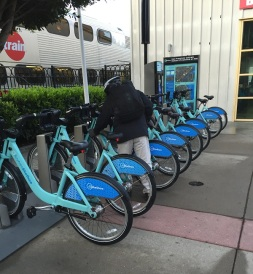 Bay Area Bike Share at San Francisco Caltrain Station.