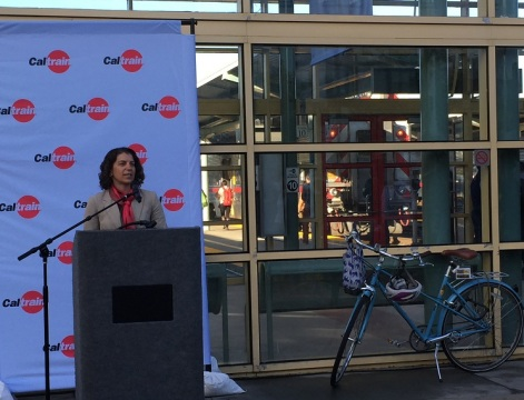 Silicon Valley Bicycle Coalition Director Shiloh Ballard at San Francisco Caltrain Station.